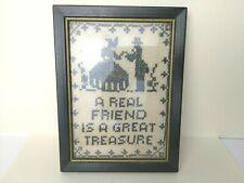 Vintage Framed Sweetheart Friendship Sampler Sewing Needlework Cross Stitch