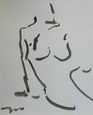 "JOSE TRUJILLO - Black INK WASH on Paper Collectible 14x17"" Minimalist Nude Woman"