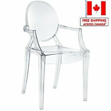 Ghost Chair with Arms Philippe Starck Design Clear Plastic Dining Chair