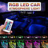 4Pcs RGB 9LED Car Interior Neon Atmosphere Light Strip Floor Lamp Remote