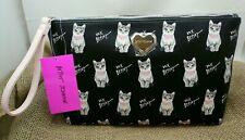 Betsey Johnson Large Floral Stripe Wristlet Clutch Cosmetic Bag Purse
