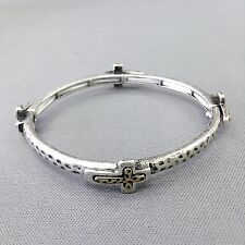 Double Cross Stretchable Bangle Bracelet Antique Silver Finished Hammered Gold