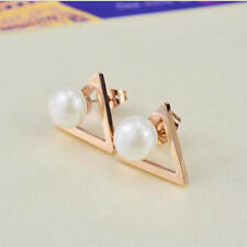 Fashion Rose Gold Hot Triangle Two Sides Jewelry Ear Stud Ear Earrings