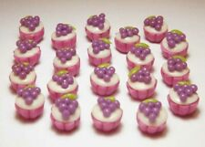 20 Dollhouse Miniature Cupcakes * Doll Mini Tiny Food Grape Cakes Bakery Cake