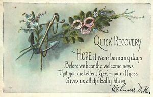Vintage Postcard 1927 Quick Recovery - Your Illness Gives us all the Bally Blues