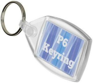 Photo Insert Key Rings - P6 clear acrylic fobs. Made in the UK - 35x24mm inserts