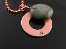 Personalized Labradorite and Copper Donut Necklace, Couple Initials, Handmade