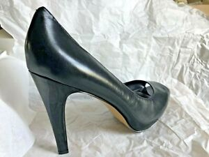 "SEXY Nine West ESCHER Women US 12 M Black Leather Peep Toe 4"" Heels"