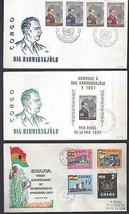 NIGERIA CONGO SWA congo 1960s SEVEN FDCs INCLUDING HAMMRSKJOLD +SS & nigeria IND