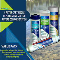 Reverse Osmosis Replacement Water Filters Set 4 pc Carbon, GAC, Sediment, Inline