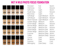 Wet n Wild Photo Focus Foundation Many Shades Colors You Pick 1 FL OZ NEW
