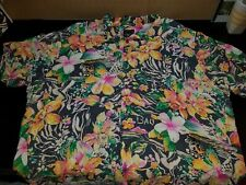 Vtg JAMS WORLD Rayon Hawaiian Shirt XXL Grey Polynesian Flowers Bali Islanders