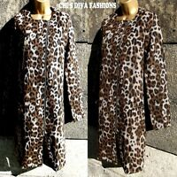 Beautiful Wool Blend Leopard Print Long Coat Jacket Size UK  8,10
