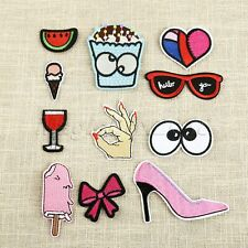 11pcs Fabric Glasses High Heel Love Embroidery Patches Sewing Iron On Applique