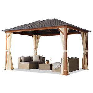 Gartenpavillon 3x4 m Holzoptik Eiche Pavillon Stahldach 4 Seitenteile in creme