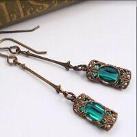 1Pair Women Retro Boho Indian Earrings Zircon Green Drop Dangle Ear Stud Jewelry