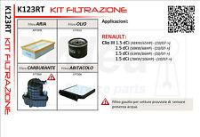 KIT FILTRI TAGLIANDO RENAULT CLIO III 1.5 DCI RICAMBI ORIGINALI K123RT OFFERTA