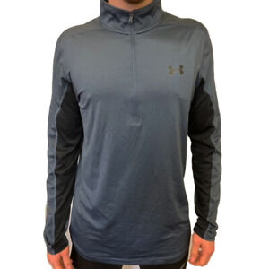 Under Armour UA HeatGear Run Mens Grey Running Warm Up 1/4 Zip Top L