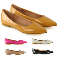 New Womens Ballet Flats Point Toe Pumps Ladies Slip On Casual Shoes Size 3-9