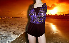 NWT LONGITUDE 1 pc Purple Sands Gold Metallic BATHING SUIT SWIMSUIT Size - 22 W