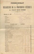 27 PACY-SUR-EURE BULLETIN SCOLAIRE PENSIONNAT RELIGIEUSES DE LA PROVIDENCE 1879