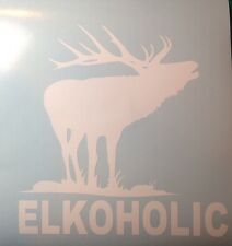 Elk Hunting Elkoholic Decal, sticker, vinyl, Bull, Hunter, free shipping