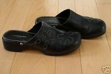 Liz Claiborne Black Leather Mules *Garden* 7 M