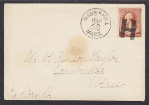 """US Sc 210 on 1886 Cover, Large """"H"""" Fancy Cancel of HAVERHILL, MASS"""