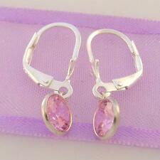 STERLING SILVER 6mm PINK CZ SAFETY HOOK EARRINGS