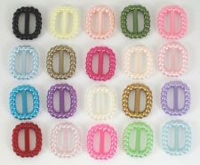 20 PEARL PLASTIC DOLL BELT BUCKLES 17 DIFFERENT COLORS CRAFT SEWING SCRAPBOOKING