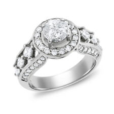 1.40 Ct. Natural Diamond Illusion Engagement Ring Halo Solid 14k White Gold