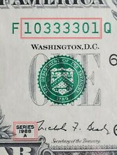 QUAD CENTER RADAR Serial Number 1988 $1 Dollar Bill / Reserve Note - Fancy CU