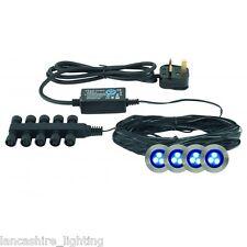 Recessed Blue LED Decking Lights/ Plinth Lights/ Bathroom Lights Kit IP65