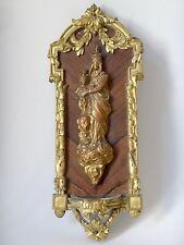 Bénitier vierge à l'enfant en bronze doré et marqueterie XIXe