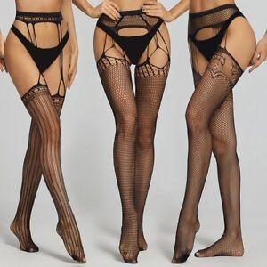 Women's Thigh High Pantyhose Garter Belt Fishnet Suspender Stockings Mesh Socks