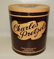 Large Vintage Charles Pretzels Musser's Potato Chips Advertising Tin Can