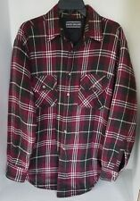 David Taylor Plaid Check Button Flannel Shirt Jacket Quilted Red Black Mens M T