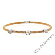 "NEW Italian 14K Rose Gold 6.5"" Diamond Spring Cable Bangle Stackable Bracelet"