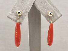 Untreated Mediterranean Red Coral  Solid 14kt Gold Drop/Dangle Earrings, New