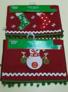 """HOLIDAY STYLE Fabric Christmas Table Runner 13"""" x 68""""  SNOWMAN or STOCKINGS"""