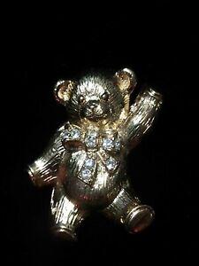 Vintage Avon Gold Tone Dancing Teddy Bear W/ Rhinestone Bow Pendant Brooch Pin