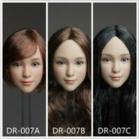 1/6 QI AN TOYS Female Head Carving DR-007 Asia Girl Head Sculpt F 12'' Figure