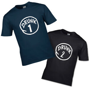 Drunk 1 and Drunk 2 T-shirt couples mates besties drinking buddies his hers