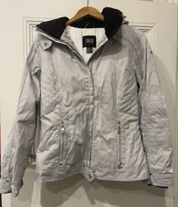 NILS Ladies Grey & White Chequered Ski Jacket with Removable Hood Size 10