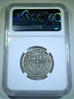 NGC VF-25 1718 Spanish Silver 2 Reales Genuine Antique 1700's Pirate Cross Coin