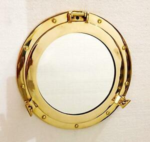 Antique 12 inch Wall Mirror Canal Boat Porthole-Window Ship Round Mirror Home Wa