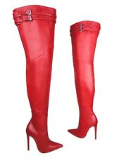 CQ COUTURE CUSTOM HEELS OVERKNEE BOOTS STIEFEL STIVALI LEATHER BELT RED ROSSO 35