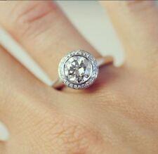 Engagement Ring 14k White Gold Over Bezel Set 2Ct Excellent Cut Moissanite Halo