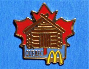MCDONALDS - QUEBEC - CANADA - LOG CABIN - RED MAPLE LEAF - VINTAGE LAPEL PIN