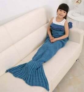 Senmar Warm & Soft Mermaid Tail Blanket for Kids Knitted Throw Crochet Gift